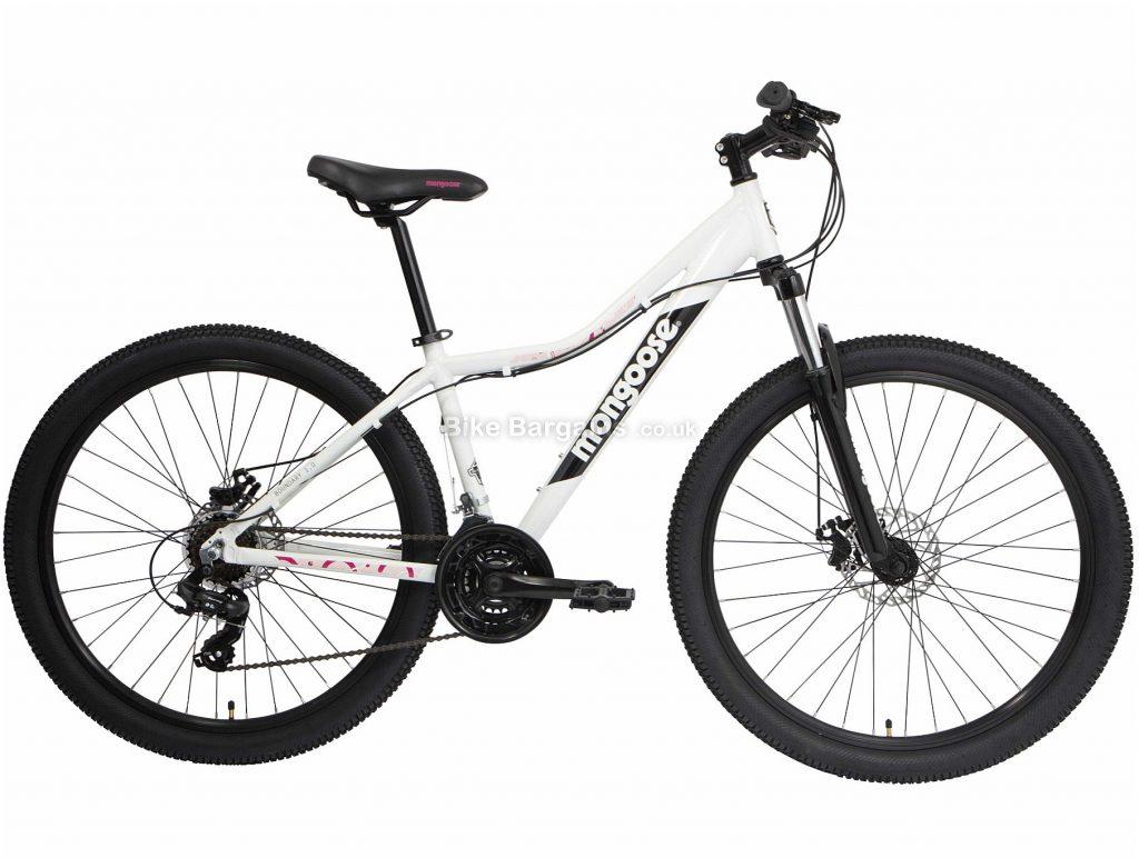 Mongoose Boundary 1 W Ladies Alloy Mountain Bike 2020 S,M,L, White, Black, Alloy Frame, Disc, 21 Speed, Triple Chainring, Hardtail