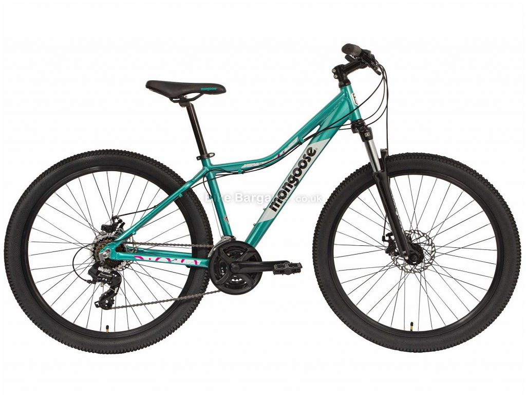 Mongoose Boundary 2 Ladies Alloy Mountain Bike 2020 S,M,L, Green, Black, Alloy Frame, Disc, 24 Speed, Triple Chainring, Hardtail
