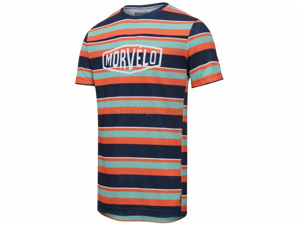Morvelo Exclusive Band Short Sleeve MTB Jersey XS, Orange, Turquoise, Blue, Short Sleeve, Men's, Polyester