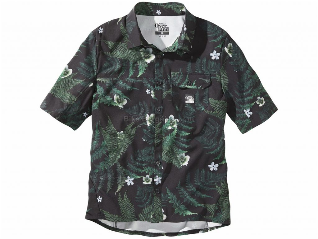Morvelo Overland Foliage Short Sleeve Shirt XS, Green, Two Side Pockets, Short Sleeve, Polyester, Elastane