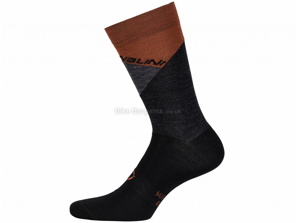 Nalini AHW Crit Socks XS, Black, Grey, Flat Seams, Men's, Merino, Wool, Polyamide, Elastane
