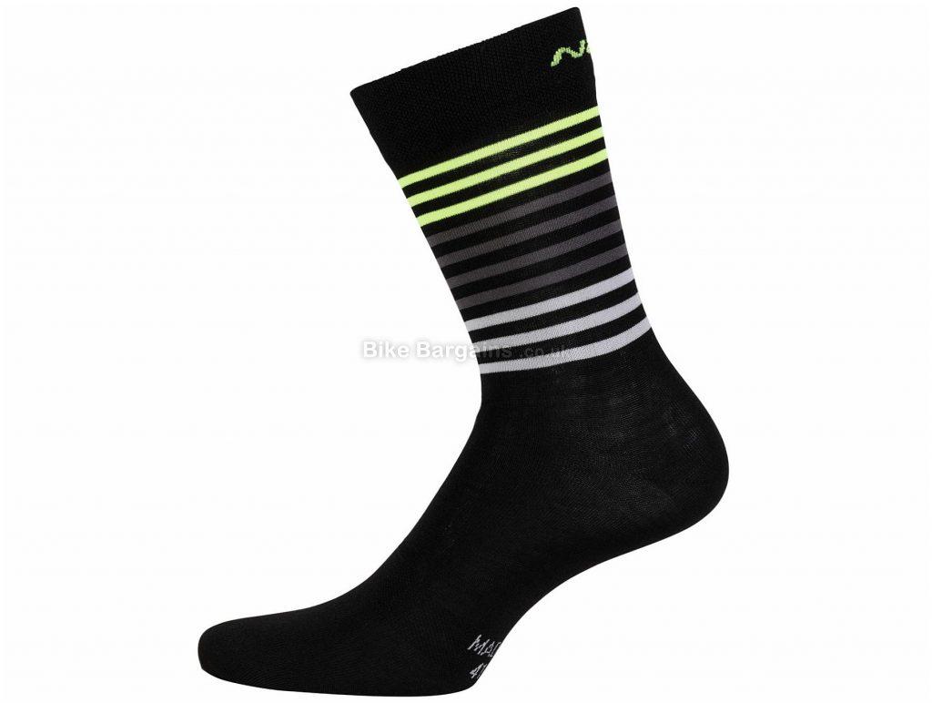Nalini AHW Logo Socks S,M, Black, Yellow, Flatlock Seams, Polyester, Polyamide, Elastane