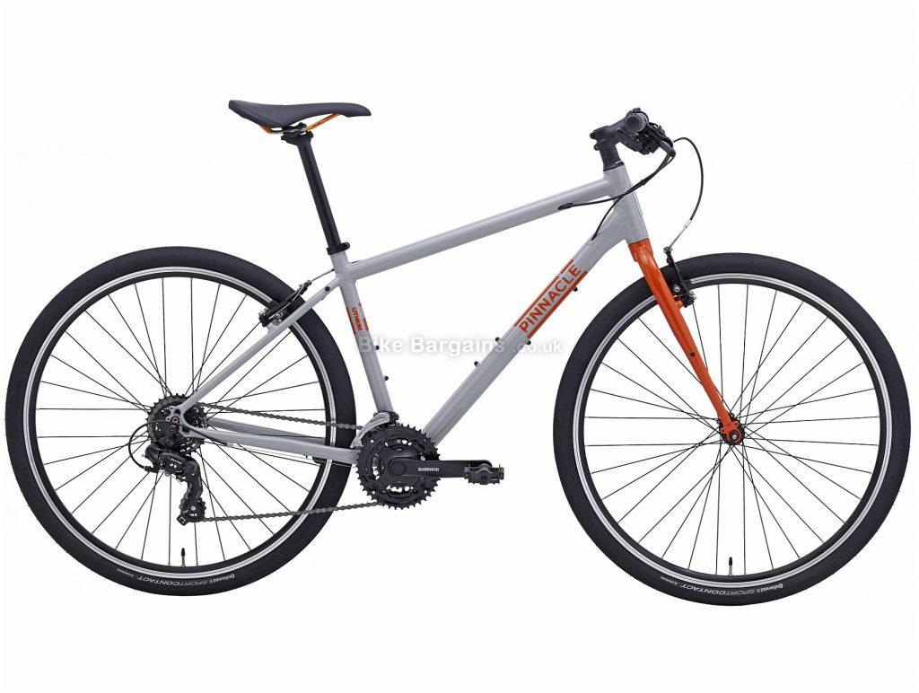 Pinnacle Lithium 2 Alloy City Bike 2020 S,M,L,XL, Grey, Orange, Alloy Frame, Caliper Brakes, 7 Speed, Single Chainring, Hardtail