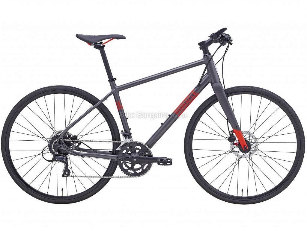 Pinnacle Neon 3 Alloy City Bike 2020 L, Grey, Orange, Alloy Frame, Disc, 18 Speed, Double Chainring, Hardtail, 12.4kg