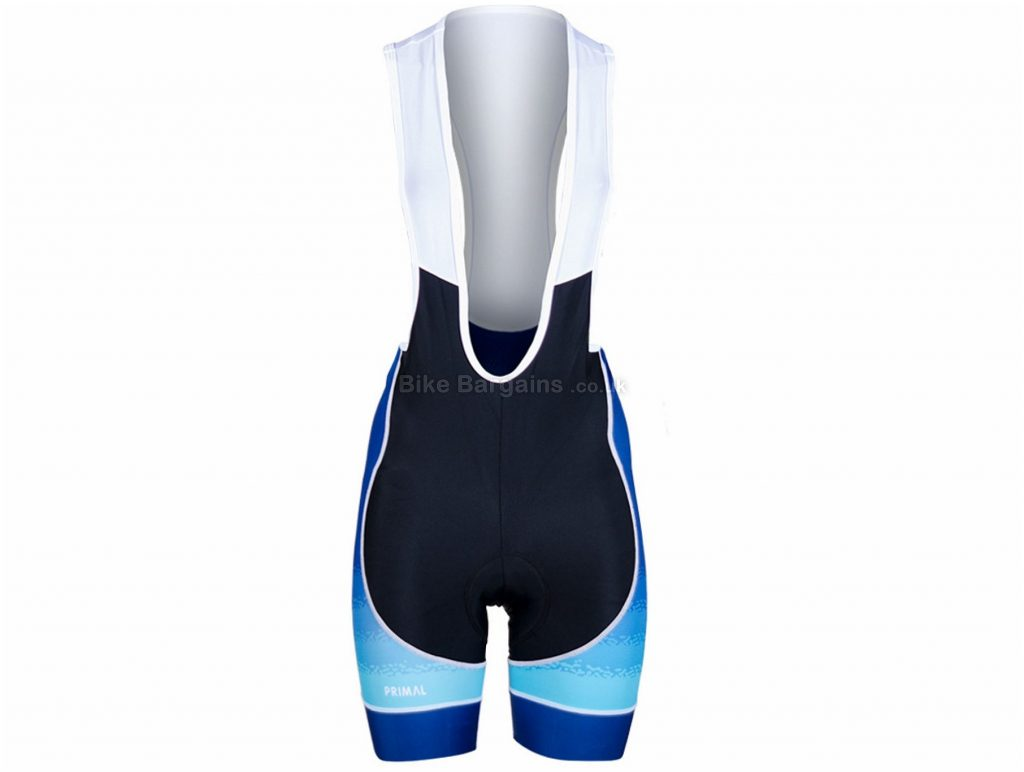 Primal Ladies Helix 2.0 Bib Shorts XS, Black, Blue, White, Breathable, Ladies, Polyester, Elastane