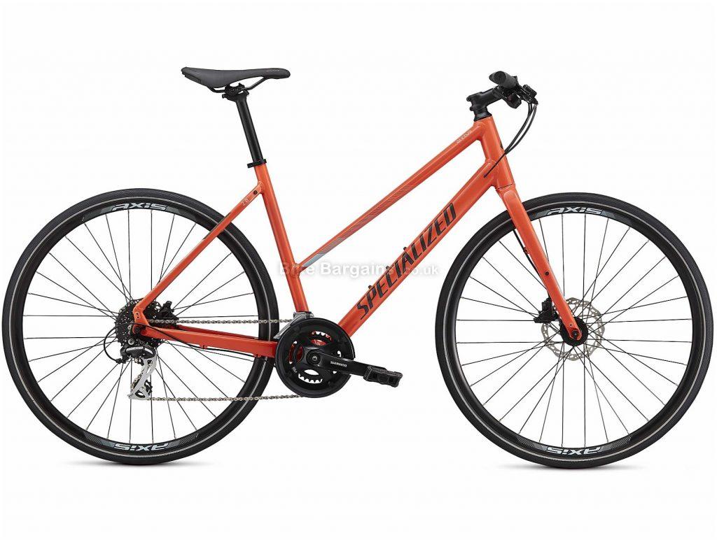 Specialized Sirrus 2.0 Step Through Ladies Alloy City Bike 2021 M, Orange, Alloy Frame, 16 Speed, Disc Brakes, 700c Wheels, Hardtail