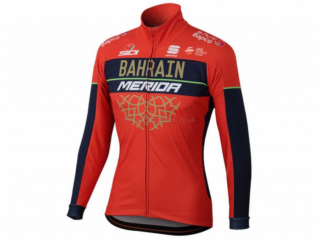 Sportful Bahrain-Merida Partial Protection Jacket 2018 L, Red, Black, Breathable, Long Sleeve, Polyester