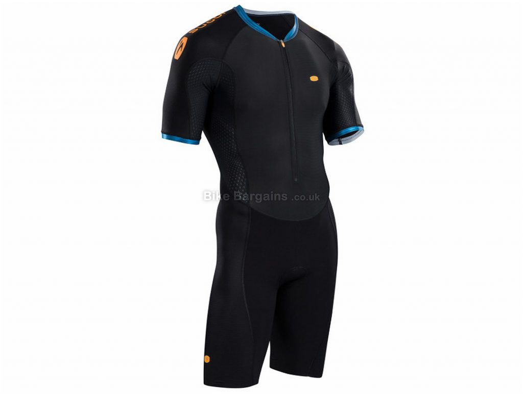 Sugoi RS Triathlon Speed Suit L, Black, Blue, Aerodynamic, Short Sleeve, Men's, Polyamide, Elastane, Polyester