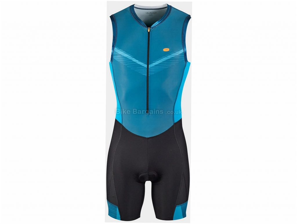 Sugoi RS Triathlon Suit L, Black, Blue, Water-Repellant & Breathable, Sleeveless, Men's, Polyamide, Elastane, Polyester