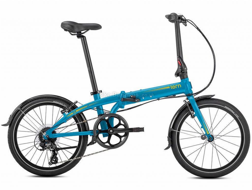 Tern Link C8 Alloy Folding Bike 2020 One Size, Blue, Grey, Alloy Frame, Caliper Brakes, 8 Speed, Single Chainring, Hardtail, 12.8kg