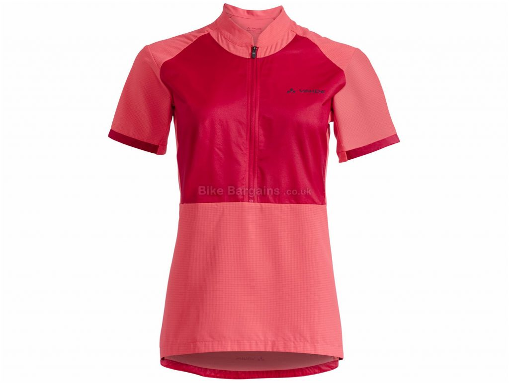 Vaude Ladies eMoab Shirt 44,46, Red, Wicking, Short Sleeve, Ladies, Polyester, Silicone, Polyamide