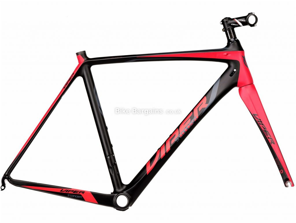Viper Puy De Dome Carbon Road Frame 54cm, Black, Red, Carbon Frame, 700c, Caliper Brakes
