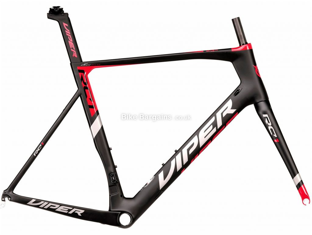 Viper RC1 Carbon Road Frame 59cm, Black, Red, Carbon Frame, 700c, Caliper Brakes