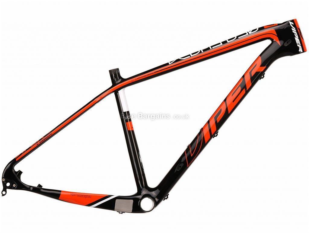 "Viper Vegas 27.5 Carbon Hardtail Mountain Bike Frame 21"", Black, Orange, Carbon Frame, 27.5"", Hardtail, Disc"