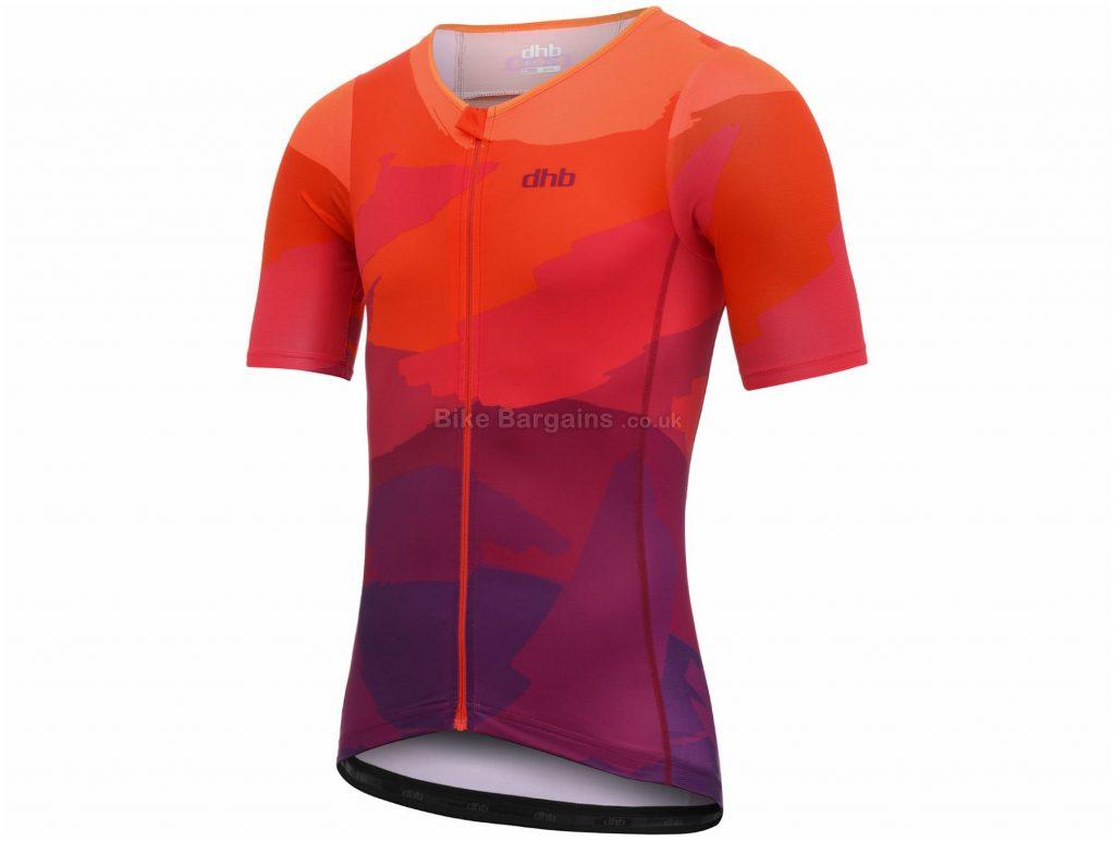 dhb Blok Sunset Tri Short Sleeve Jersey L,XL, Black, Orange, Breathable, Quick Drying, Short Sleeve, Polyamide, Elastane