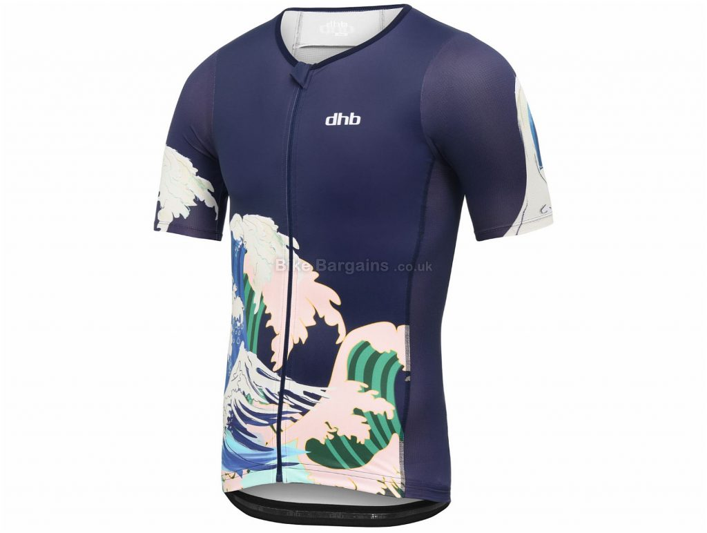 dhb Blok Wave Tri Short Sleeve Jersey S, Blue, White, Breathable, Quick Drying, Short Sleeve, Polyester, Elastane, Polyamide