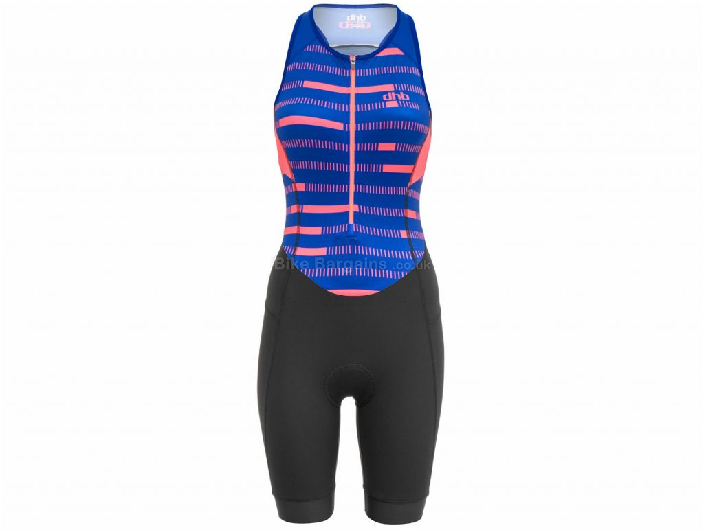 dhb Classic Ladies Sleeveless Tri Suit 14, Blue, Pink, Black, Breathable, Quick Drying, Sleeveless, Polyamide, Elastane