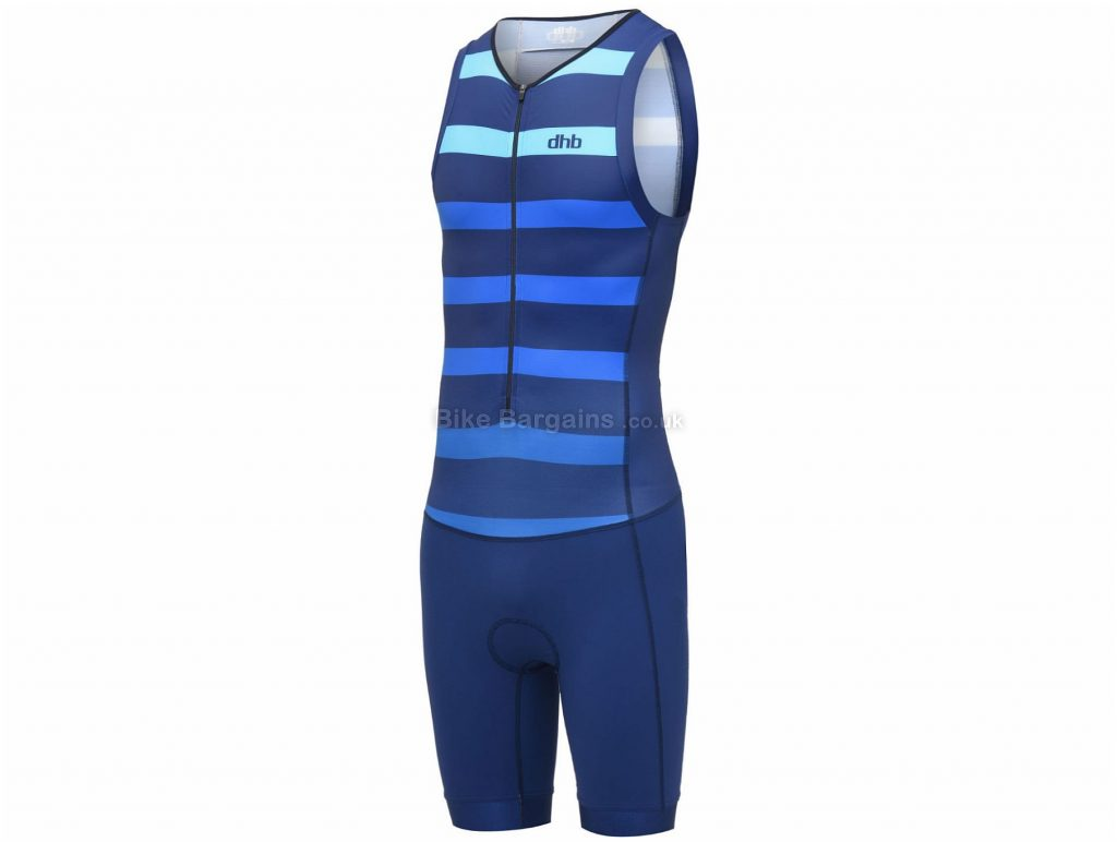 dhb Classic Sleeveless Tri Suit L, Blue, Red, Breathable, Quick Drying, Sleeveless, Polyamide, Elastane