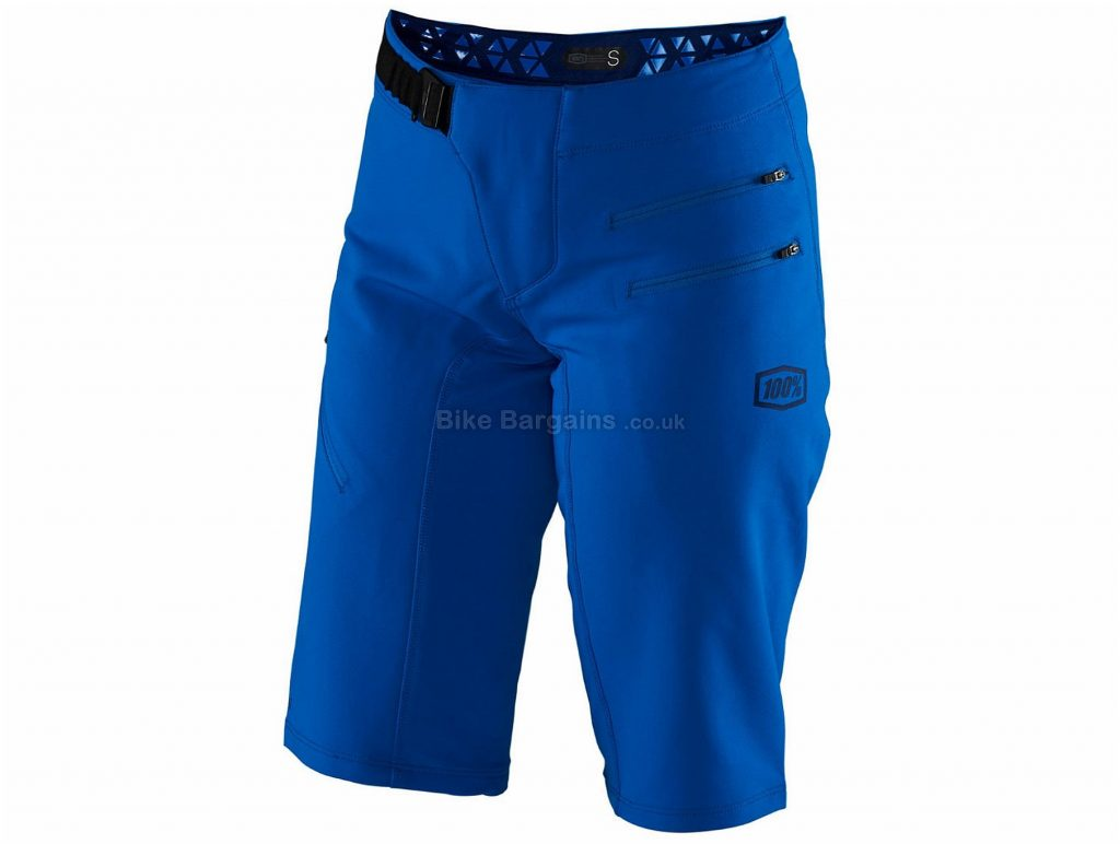 100% Ladies Airmatic Shorts S, Blue, Longer Cut, Zipper Pockets, Ladies, Baggy, Polyester, Elastane