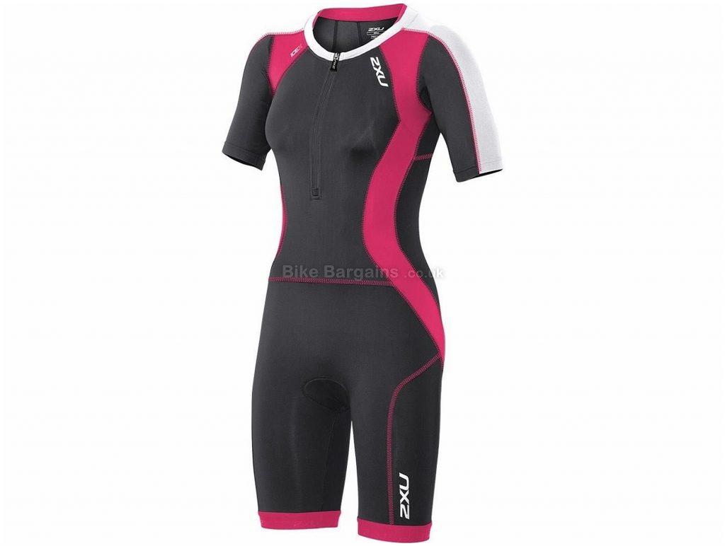 2XU Compression Ladies Short Sleeve Trisuit S, Black, Pink, Aerodynamic, UV Protection, Ladies, Short Sleeve, Polyester, Elastane, Triathlon