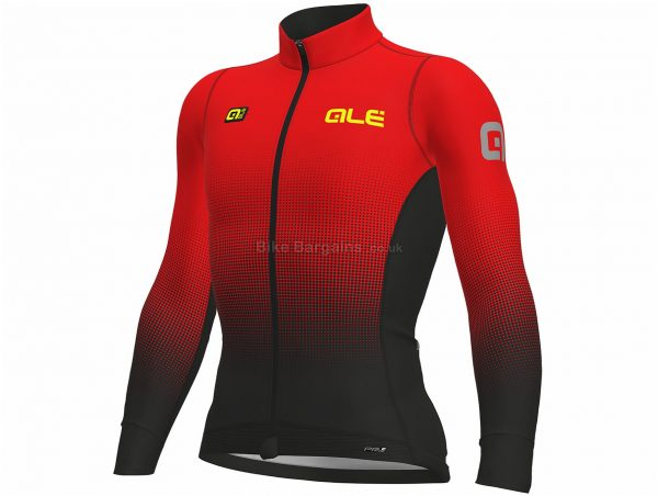 Ale Dots Long Sleeve Jersey XS, Yellow, Black, Durable Water Repellent Treatment, Long Sleeve, Men's, Polyester, Elastane, Polyamide