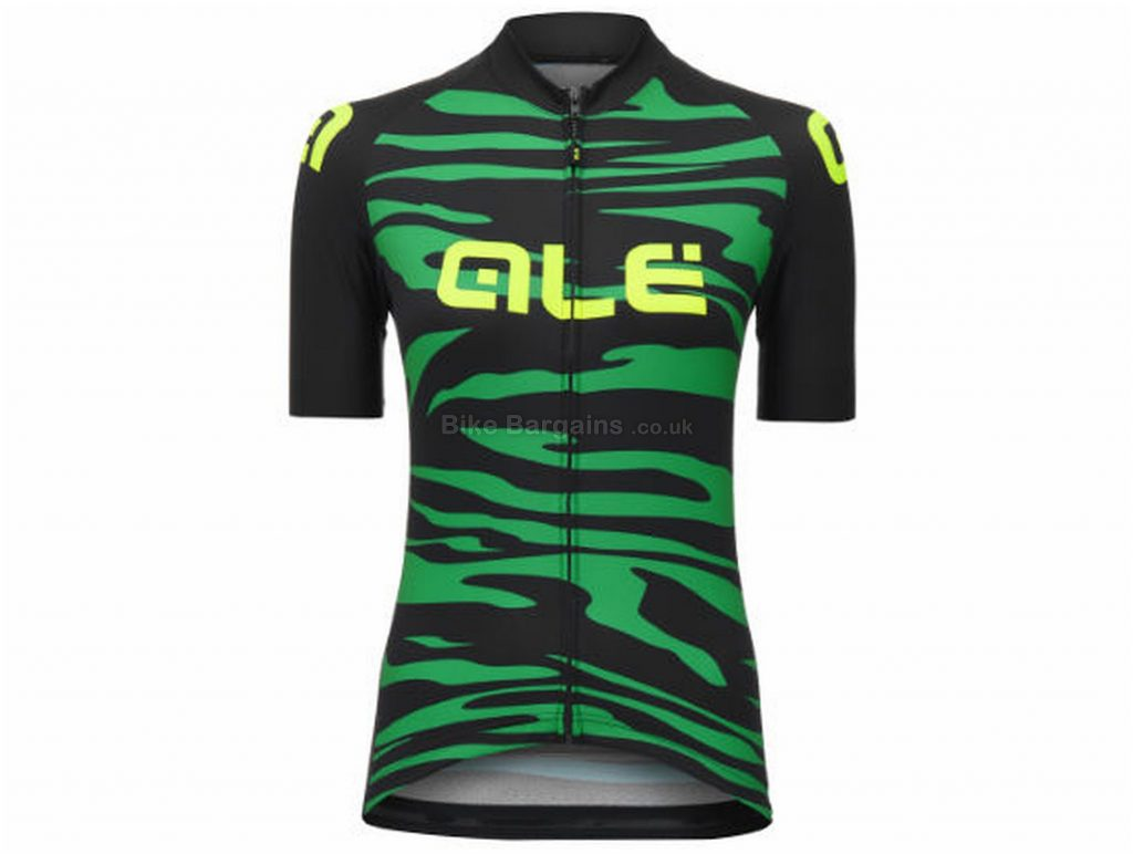 Ale Ladies Back to Nature Zebra Short Sleeve Jersey M,XL, Green, Black, Yellow, Lightweight, Breathable, Short Sleeve, Ladies, Polyester
