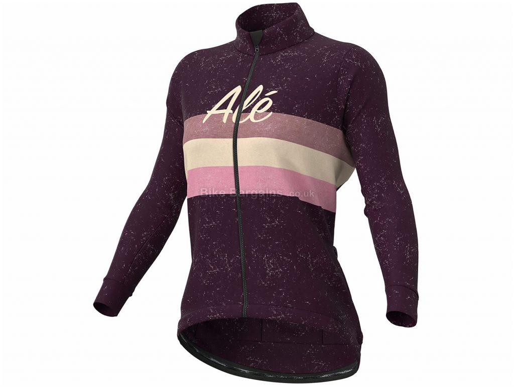 Ale Ladies Vintage Jacket L, Purple, Pink, Long Sleeve, Polyester, Wool, Elastane, Ladies