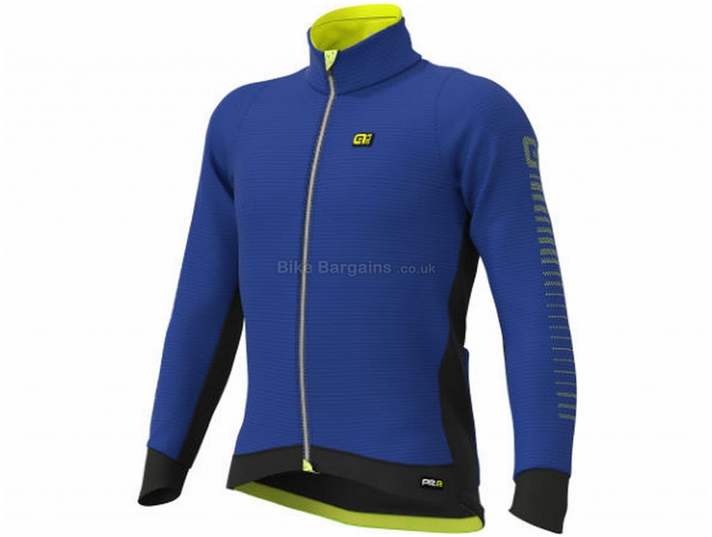 Ale Thermo Road Jacket S, Blue, Yellow, Windproof & Water-Resistant, Long Sleeve, Men's, Polyester, Wool, Elastane