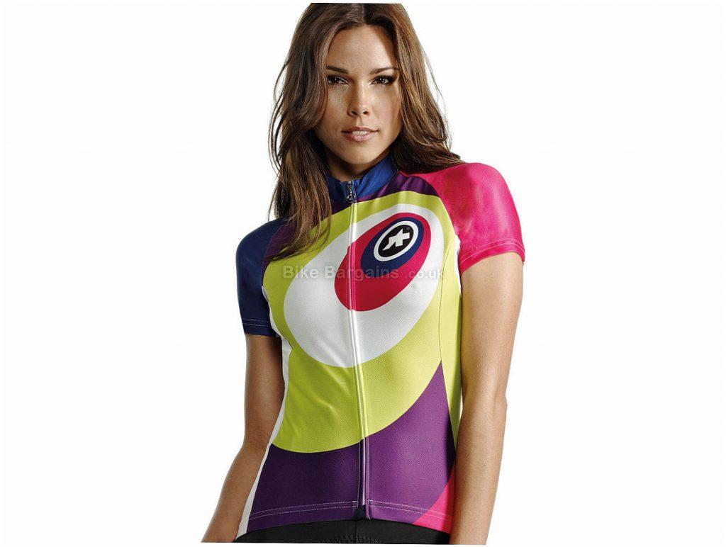 Assos Lady ellisse Ladies Short Sleeve Jersey XL, Purple, Green, White, Red, Moisture Wicking, Ladies, Short Sleeve, Polyester, Elastane, Polyamide , Road
