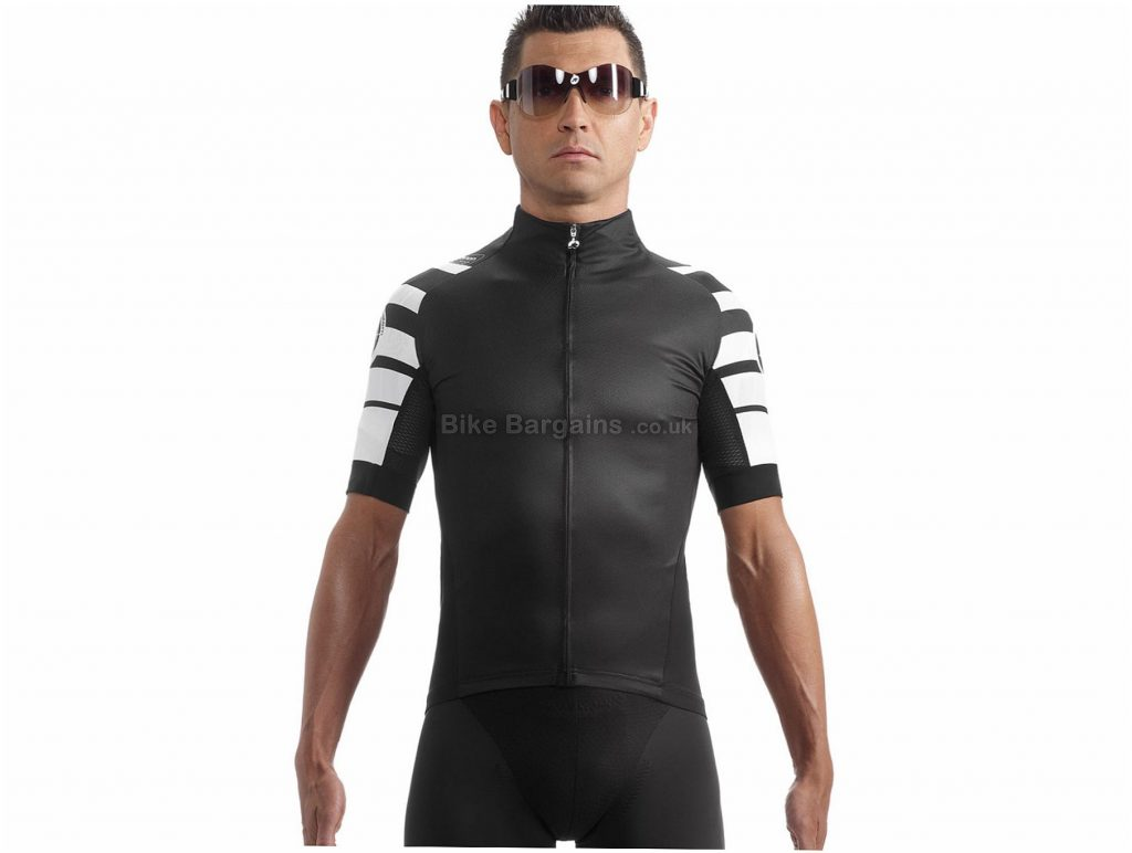 Assos SS.cento_s7 Short Sleeve Jersey XS, Black, White, Highly Breathable, Short Sleeve, Men's, Polyester, Polyamide, Elastane