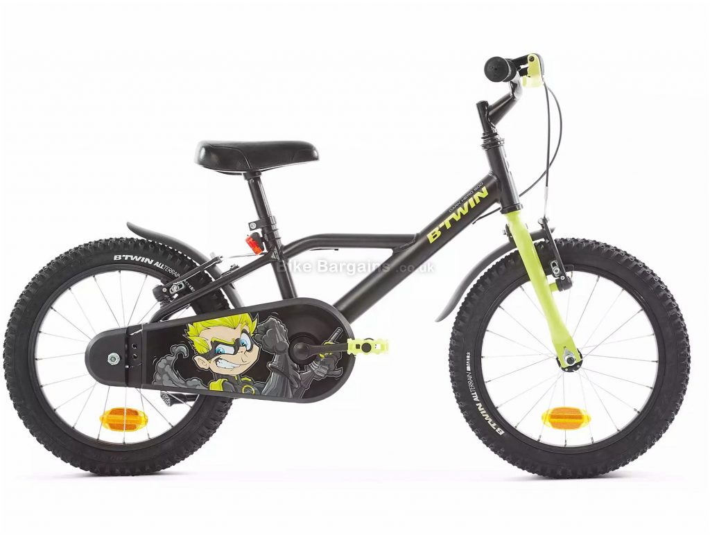"B'Twin 500 Dark Hero 16"" Kids Bike One Size, Black, Yellow, Steel Frame, Single Speed, Caliper Brakes, Single Chainring, 9.1kg, 16"" Wheels"