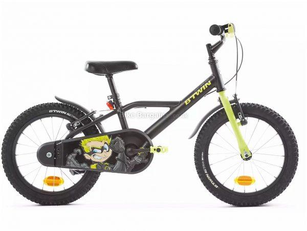 "B'Twin 500 Dark Hero 16"" Kids Bike One Size, Black, Yellow, Steel Frame, Single Speed, Caliper Brakes, Single Chainring, 9.1kg, 16"" Wheels"