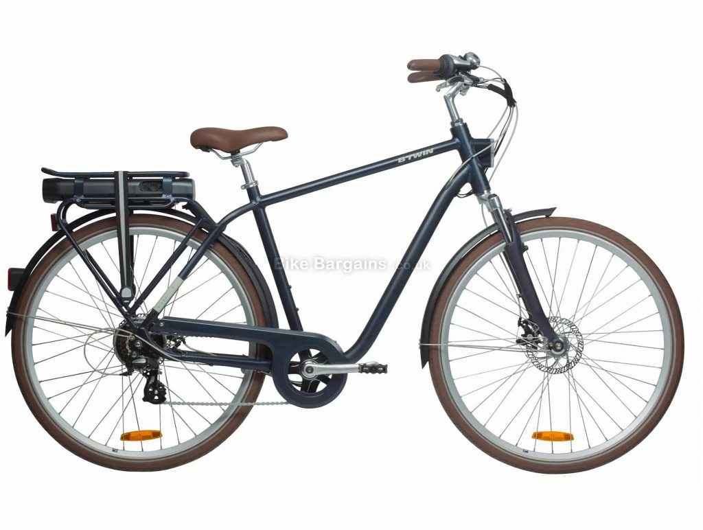B'Twin Elops 900 E Classic Electric Bike L,XL, Blue, Brown, Alloy Frame, 7 Speed, Disc Brakes, Single Chainring, 700c Wheels