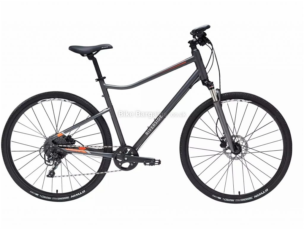 B'Twin Riverside 900 Hybrid Bike S, Black, Grey, Alloy Frame, 10 Speed, Disc Brakes, Single Chainring, 13.6kg, 700c Wheels