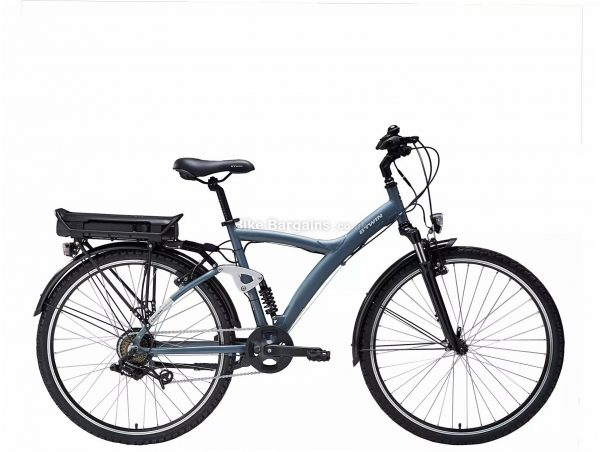 "B'Twin Riverside Original 920 E Electric Hybrid Bike L, Black, Blue, Alloy Frame, 7 Speed, Caliper Brakes, Single Chainring, 25.5kg, 26"" or 700c Wheels"