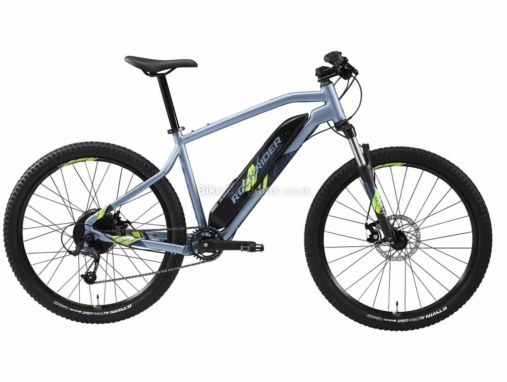 "B'Twin Rockrider E-ST 100 27.5"" Electric Mountain Bike S, Blue, Black, Alloy Frame, 8 Speed, Disc Brakes, Single Chainring, 22.5kg, 27.5"" Wheels"