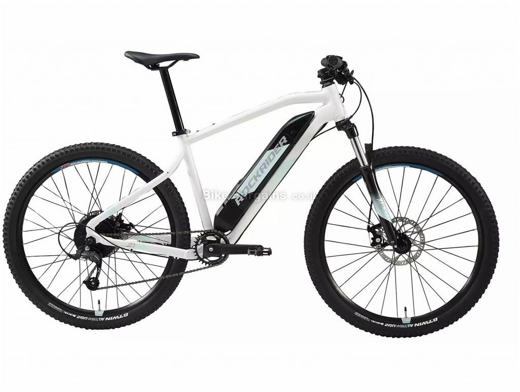 "B'Twin Rockrider E-ST 100 Ladies 27.5"" Electric Mountain Bike L, White, Black, Alloy Frame, 8 Speed, Disc Brakes, Single Chainring, 22.5kg, 27.5"" Wheels"
