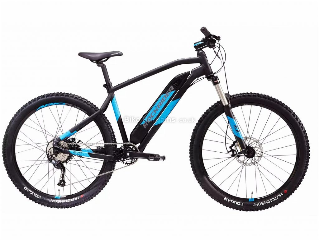 "B'Twin Rockrider E-ST500 27.5"" Electric Mountain Bike L, Blue, Black, Alloy Frame, 9 Speed, Disc Brakes, Single Chainring, 22.1kg, 27.5"" Wheels"