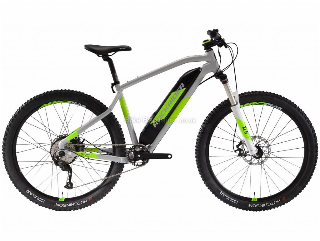 "B'Twin Rockrider E-ST500 V2 27.5"" Electric Mountain Bike S, Grey, Green, Alloy Frame, 9 Speed, Disc Brakes, Single Chainring, 27.5"" Wheels"