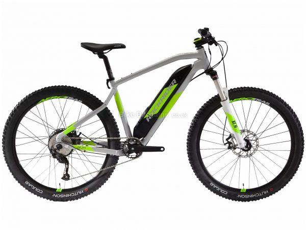 "B'Twin Rockrider E-ST500 V2 27.5"" Electric Mountain Bike M,L, Grey, Green, Alloy Frame, 9 Speed, Disc Brakes, Single Chainring, 27.5"" Wheels"