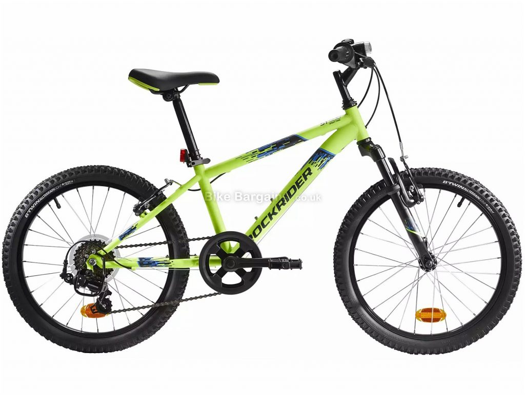 "B'Twin Rockrider ST 500 Kids 20"" Mountain Bike One Size, Yellow, Black, Steel Frame, 6 Speed, Caliper Brakes, Single Chainring, 14.3kg, 20"" Wheels"