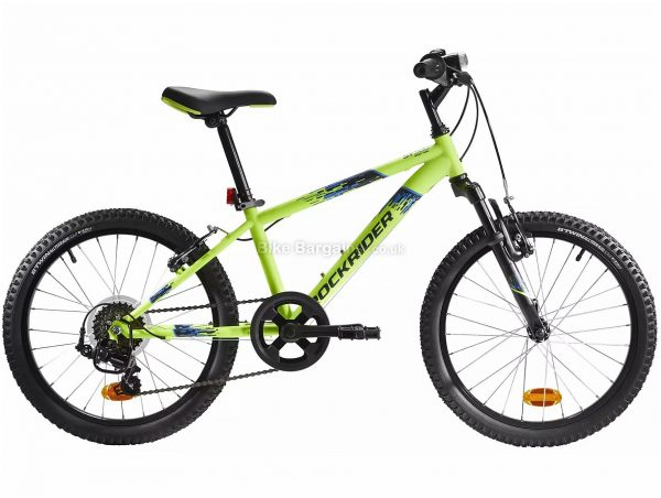 "B'Twin Rockrider ST 500 Kids 20"" Mountain Bike One Size, Yellow, Black, Steel Frame, 6 Speed, Caliper Brakes, Single Chainring, 14.3kg, 20"" Wheels"