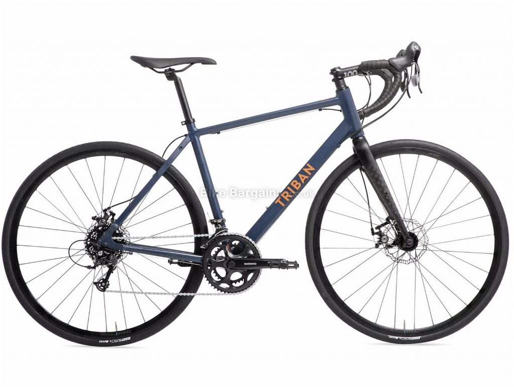 B'Twin Triban RC120 Disc Touring Road Bike S,L,XL, Black, Blue, Alloy Frame, 16 Speed, Disc Brakes, Double Chainring, 11.25kg, 700c Wheels