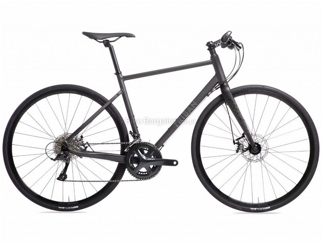 B'Twin Triban RC500 Flat Bar Sora Road Bike XL, Black, Alloy Frame, 18 Speed, Disc Brakes, Double Chainring, 10.7kg, 700c Wheels