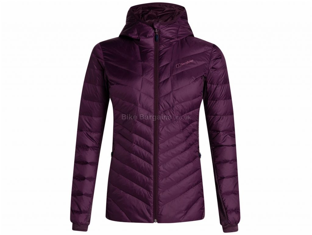 Berghaus Ladies Tephra Stretch Reflect Hooded Jacket 8, Purple, Waterproof Insulated, Long Sleeve, weighs 499g, Polyester, Elastane