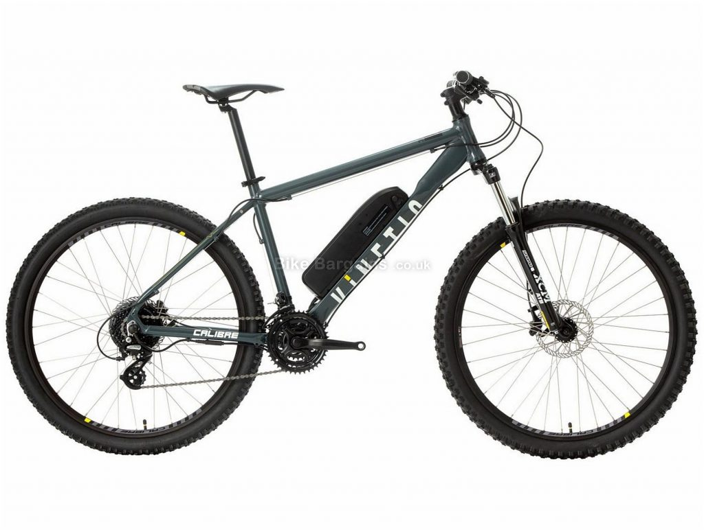 "Calibre Kinetic Hardtail Electric Mountain Bike S, Grey, Black, Alloy Frame, 24 Speed, Disc Brakes, Triple Chainring, 27.5"" Wheels"