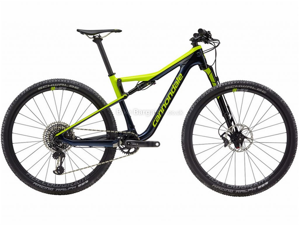 "Cannondale Scalpel Si Carbon 2 Full Suspension Mountain Bike 2019 M, Black, Green, Carbon, Full Suspension, Disc Brakes, 12 Speed, 27.5"", 29"", Men's, Single Chainring"