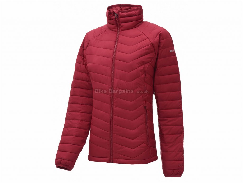 Columbia Ladies Powder Lite Jacket L, Red, Water Resistant Fabric, Long Sleeve, Polyester