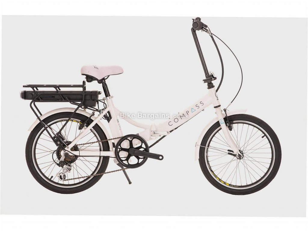 "Compass Comp Compass Electric Folding Bike One Size, White, Steel Frame, 7 Speed, Caliper Brakes, Single Chainring, 16kg, 20"" Wheels"