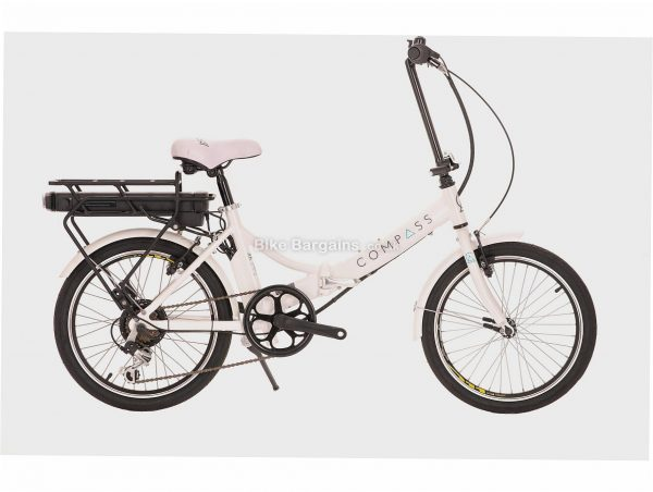 """Compass Comp Compass Electric Folding Bike One Size, White, Steel Frame, 7 Speed, Caliper Brakes, Single Chainring, 16kg, 20"""" Wheels"""